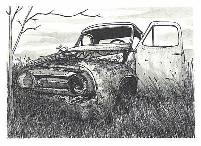 Rusted Cars Drawing - Forgotten Car by Jonathan Baldock