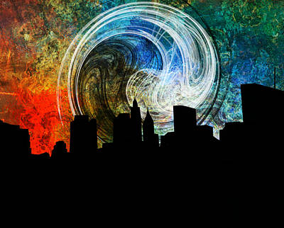 City Sunset Mixed Media - Forgotten City Night by Ally White