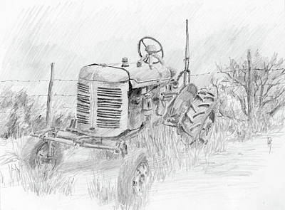 Drawing - Forgotten Farmall Graphite by David King