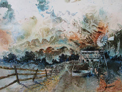Abstract Windmill Painting - Forgotten Homestead by Ken McBride