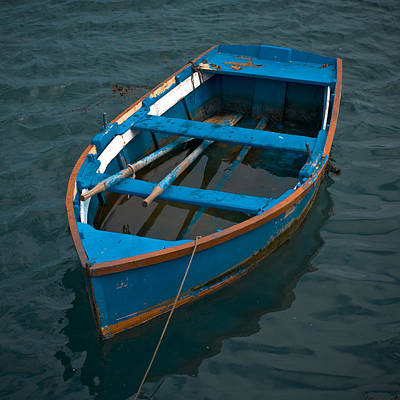 Small Boat Photograph - Forgotten Little Blue Boat by Frank Tschakert