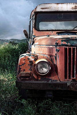 Photograph - Forgotten Red Car by Jaroslaw Blaminsky