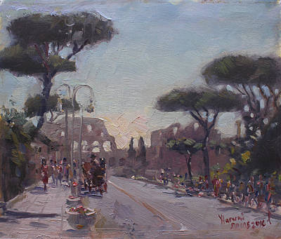 Piazza Painting - Fori Romani - Street To Colosseo by Ylli Haruni