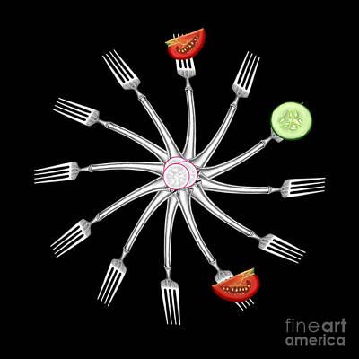 Food Art Painting - Fork - Fourchette  by Kathryn L Novak