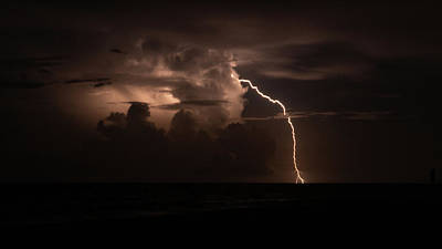 Photograph - Forked Lightning Bolt Delray Beach Florida by Lawrence S Richardson Jr