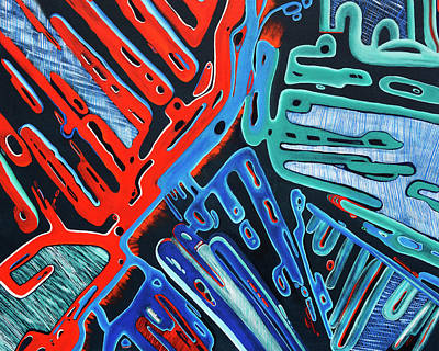 Out Of This World Painting - Forked Space - Out Of This World Abstract by Rayanda Arts