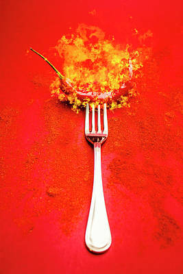 Flaming Digital Art - Forking Hot Food by Jorgo Photography - Wall Art Gallery