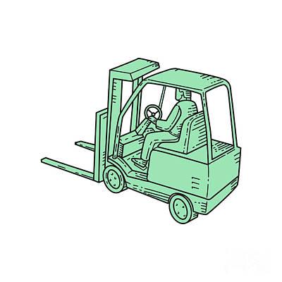 Forklift Truck Operator Mono Line Art Print by Aloysius Patrimonio