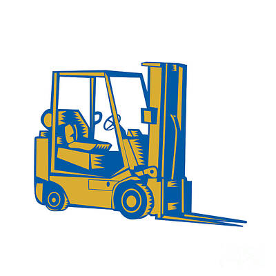 Forklift Truck Side Woodcut Art Print