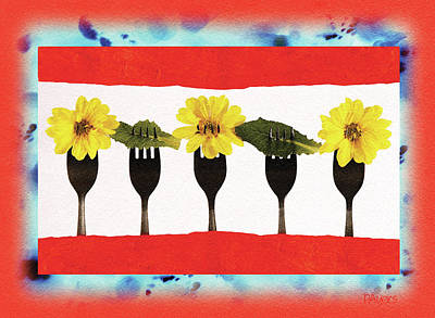 Digital Art - Forks And Flowers by Paula Ayers
