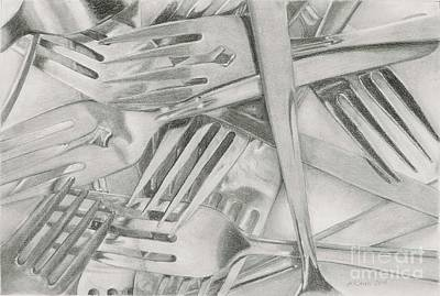 Tableware Drawing - Forks by Gordon McCann