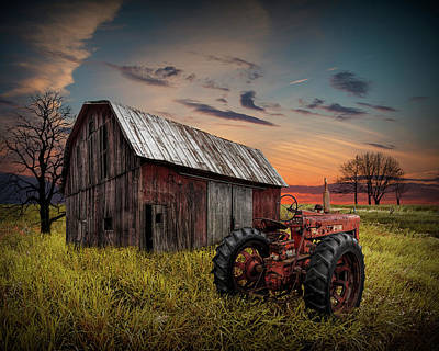Photograph - Forlorn Abandoned Farmall Tractor And Barn by Randall Nyhof