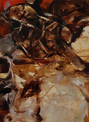 Abstracted Figuration Painting - Forma Marron Desplazandose by Mirjana Lucic
