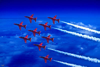 Photograph - Formation Flying Britains Red Arrows by Chris Lord