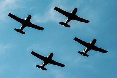Formation Marchetti In A Little Air Show  Art Print by Roberto Chiartano