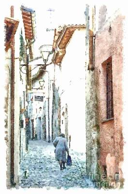 Photograph - Formello Street View With Woman by Giuseppe Cocco