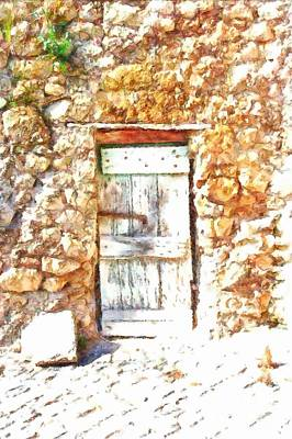Photograph - Formello Tufa Wall With Old Door by Giuseppe Cocco