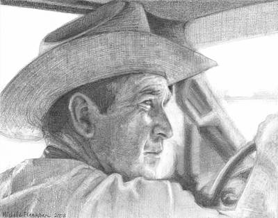 George Bush Drawing - Former Pres. George W. Bush Wearing A Cowboy Hat by Michelle Flanagan