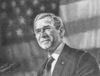 George Bush Drawing - Former Pres. George W. Bush With An American Flag by Michelle Flanagan