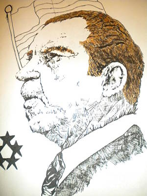 Indian Ink Mixed Media - Former President Nixon by Franky A Hicks