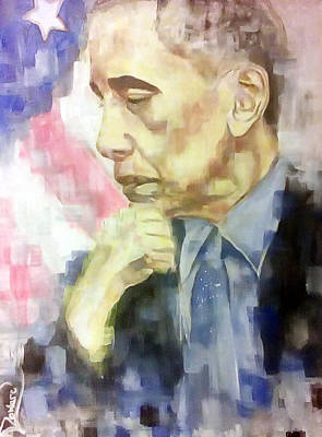 Painting - Former President Obama Deep Thought by Raymond Doward