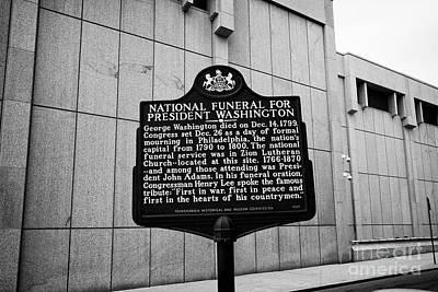 former site of zion lutheran church national funeral for president washington plaque Philadelphia US Art Print