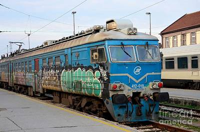 Photograph - Former Yugoslav Railways Electric Locomotive With Graffiti Belgrade Station Serbia by Imran Ahmed