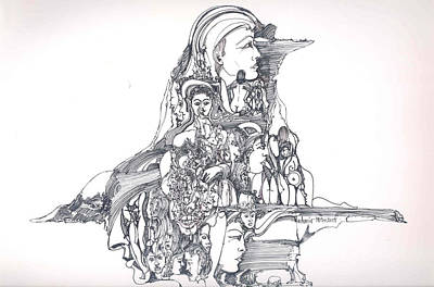 Art Print featuring the drawing Forms In The Head by Padamvir Singh