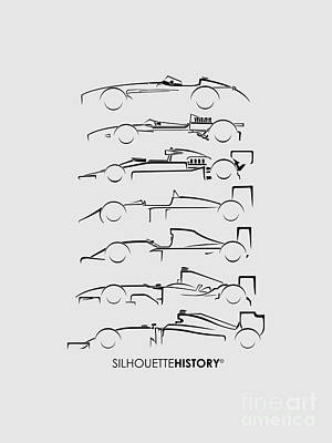 Formula 1 Digital Art - Formula Silhouettehistory by Gabor Vida