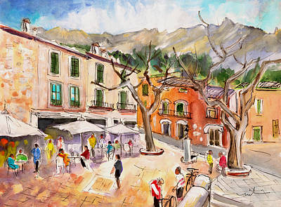 Town Square Drawing - Fornalutx 01 by Miki De Goodaboom