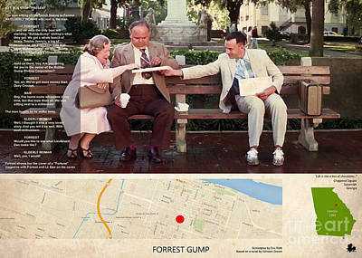 Metro Art Painting - Forrest Gump Film Location And Script, Georgia by Pablo Franchi