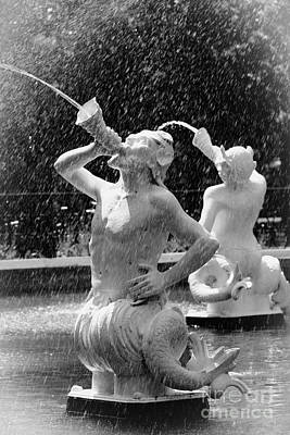 Photograph - Forsyth Fountain Detail Black And White by Carol Groenen