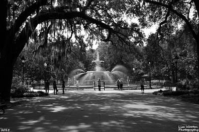 Photograph - Forsyth Park Black And White by Lisa Wooten