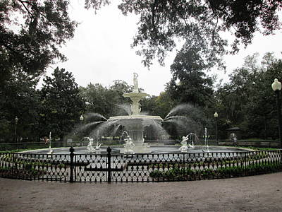 Forsyth Park Fountain In Fall     Art Print by Robin Keith McCown