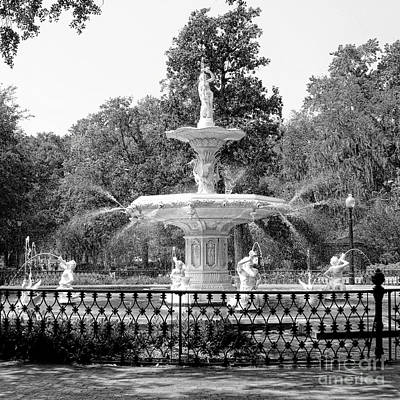 Photograph - Forsyth Park Fountain Square Black And White by Carol Groenen