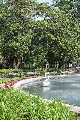 Forsyth Park Fountain With Swan And Magnolias Art Print