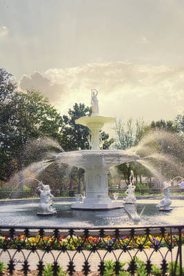 Architectur Photograph - Forsyth Park Fountain - Savannah by Paulette B Wright