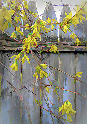 Digital Art - Forsythia And Fence by Susan Lafleur