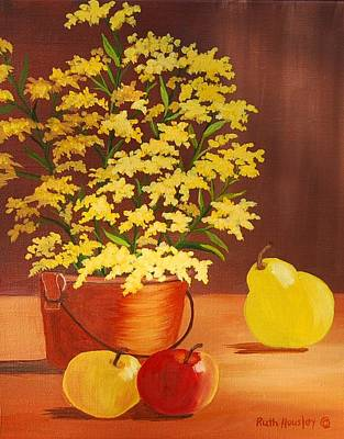 Stil Life Painting - Forsythia Flowers And Fruit Sold by Ruth  Housley