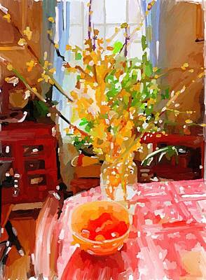 Painting - Forsythia Spring Gloucester, Ma by Melissa Abbott