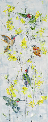 Mixed Media - Forsythia Visitors by Georgia Donovan