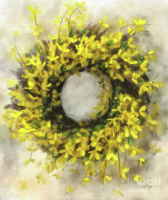 Forsythia Photograph - Forsythia Wreath by Lois Bryan