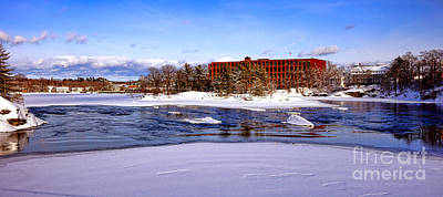Fort Andross Mill And Androscoggin River In Winter  Art Print