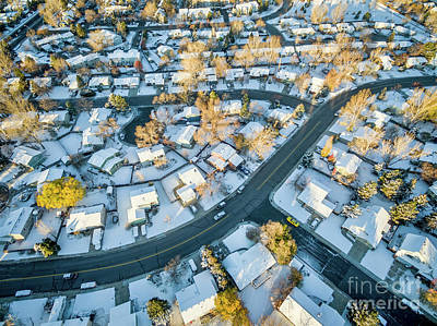 Fort Collins Cityscape With Snow Art Print