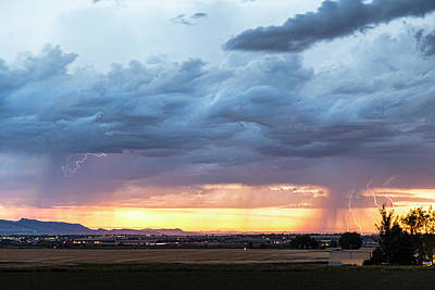 Photograph - Fort Collins Colorado Sunset Lightning Storm by James BO Insogna