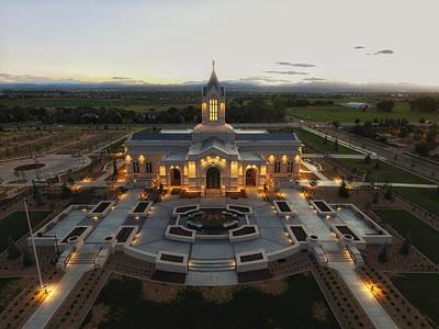 Fort Collins Glow    Lds Temple Art Print by David Zinkand