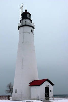 Photograph - Fort Gratiot Light In Winter by Mary Bedy