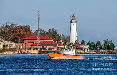 Photograph - Fort Gratiot Lighthouse And Pilot Boat by Grace Grogan