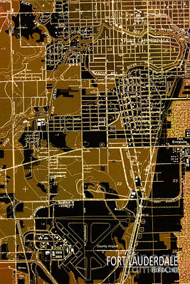 Old Map Digital Art - Fort Lauderdale 1949 Map by Pablo Franchi