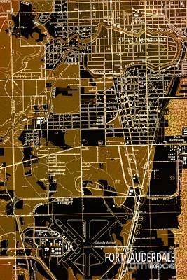 1949 Digital Art - Fort Lauderdale 1949 Map by Pablo Franchi